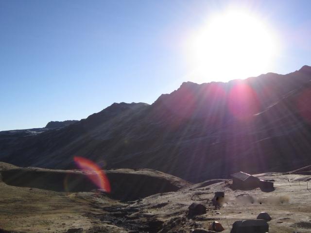 Sunrise on the village of Chua Chua, and the Pachakuti Escuela (c) IQF 2012
